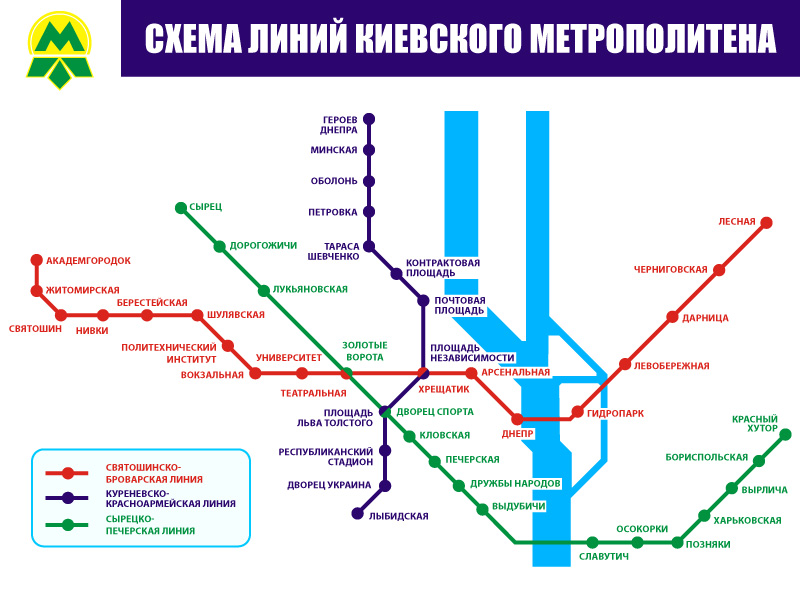 Scheme of the Kiev Metro